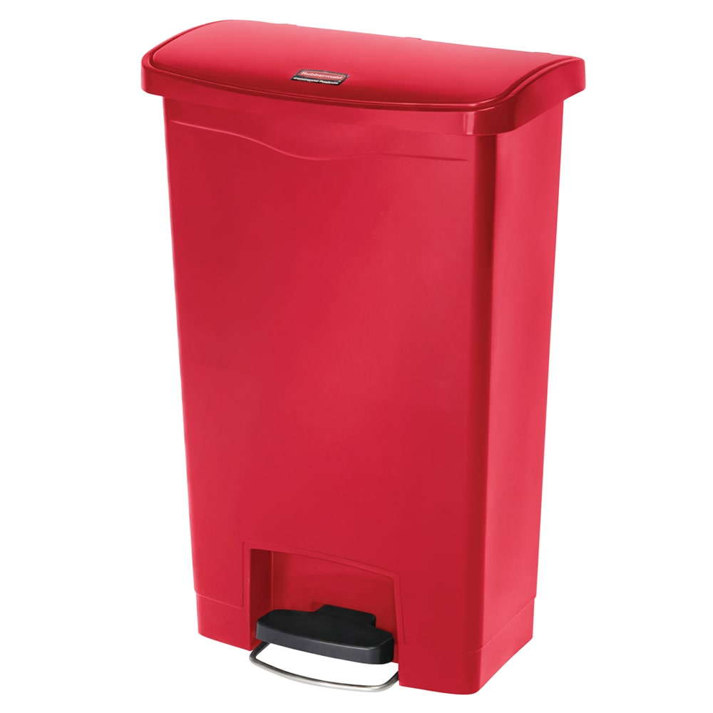 rubbermaid 1883566 13 gal rectangle plastic step trash can x x 28 3 h red. Black Bedroom Furniture Sets. Home Design Ideas