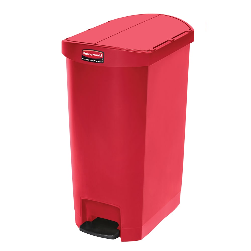 rubbermaid 1883567 13 gal rectangle plastic step trash can x 13 5 w x red. Black Bedroom Furniture Sets. Home Design Ideas