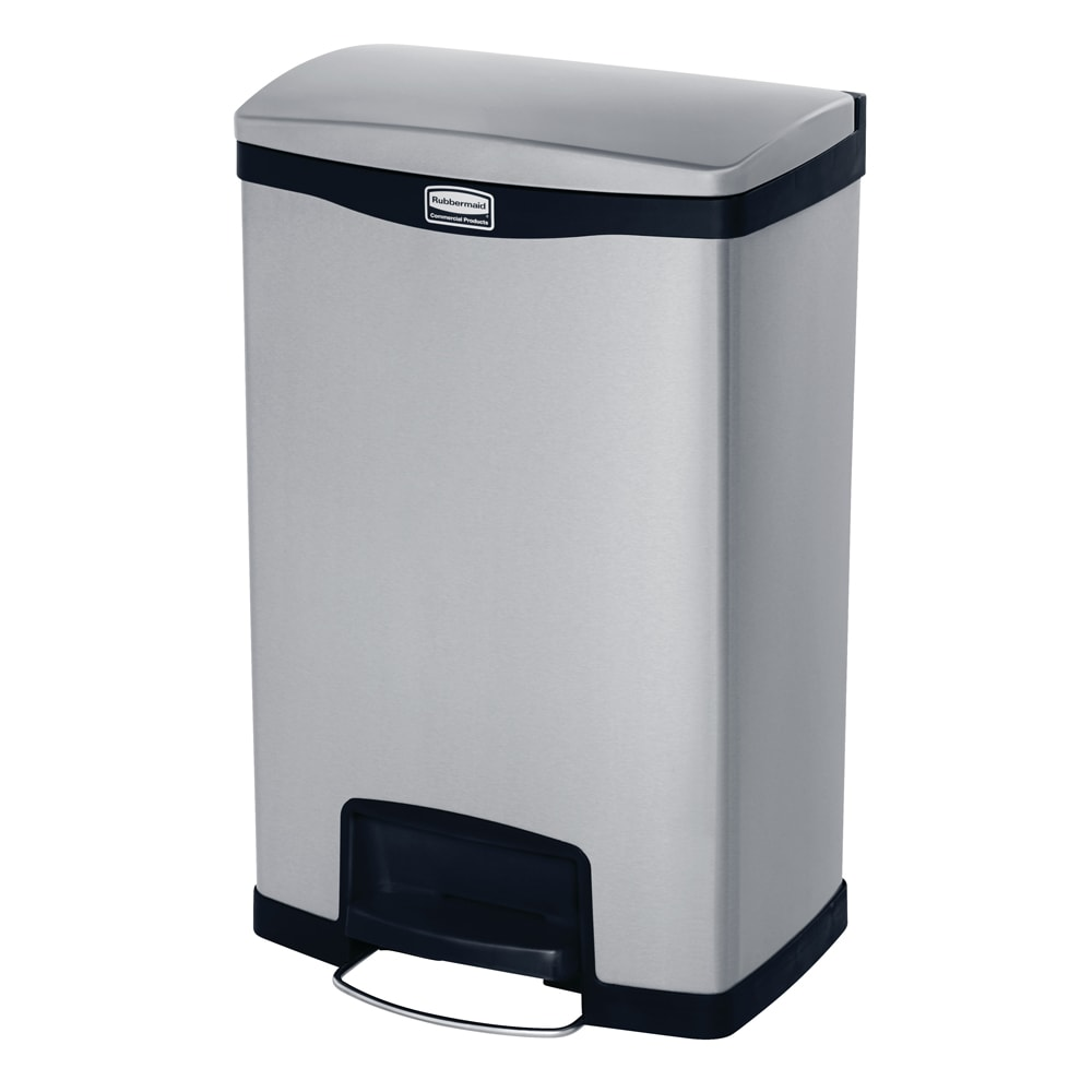 rubbermaid 1901992 13 gal rectangle metal step trash can x 13 7 w x black. Black Bedroom Furniture Sets. Home Design Ideas