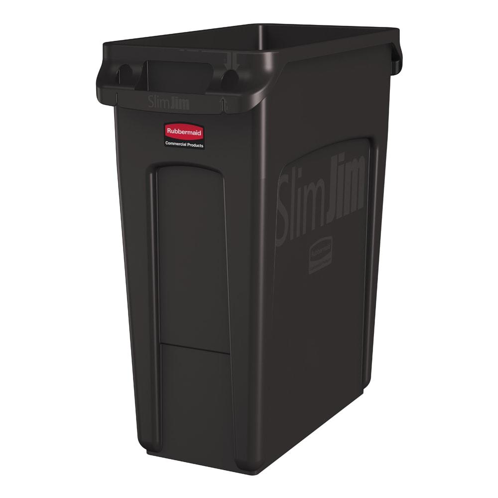 rubbermaid 1956181 16 gal rectangle slim trash can 22 l x 11 w x 25 h brown. Black Bedroom Furniture Sets. Home Design Ideas