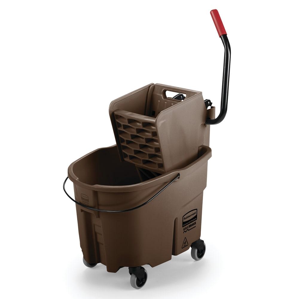 Rubbermaid Wavebrake Mopping Combo Pack, 7570 Mop Bucket; 6127-01 Wringer, Non-marking Cast