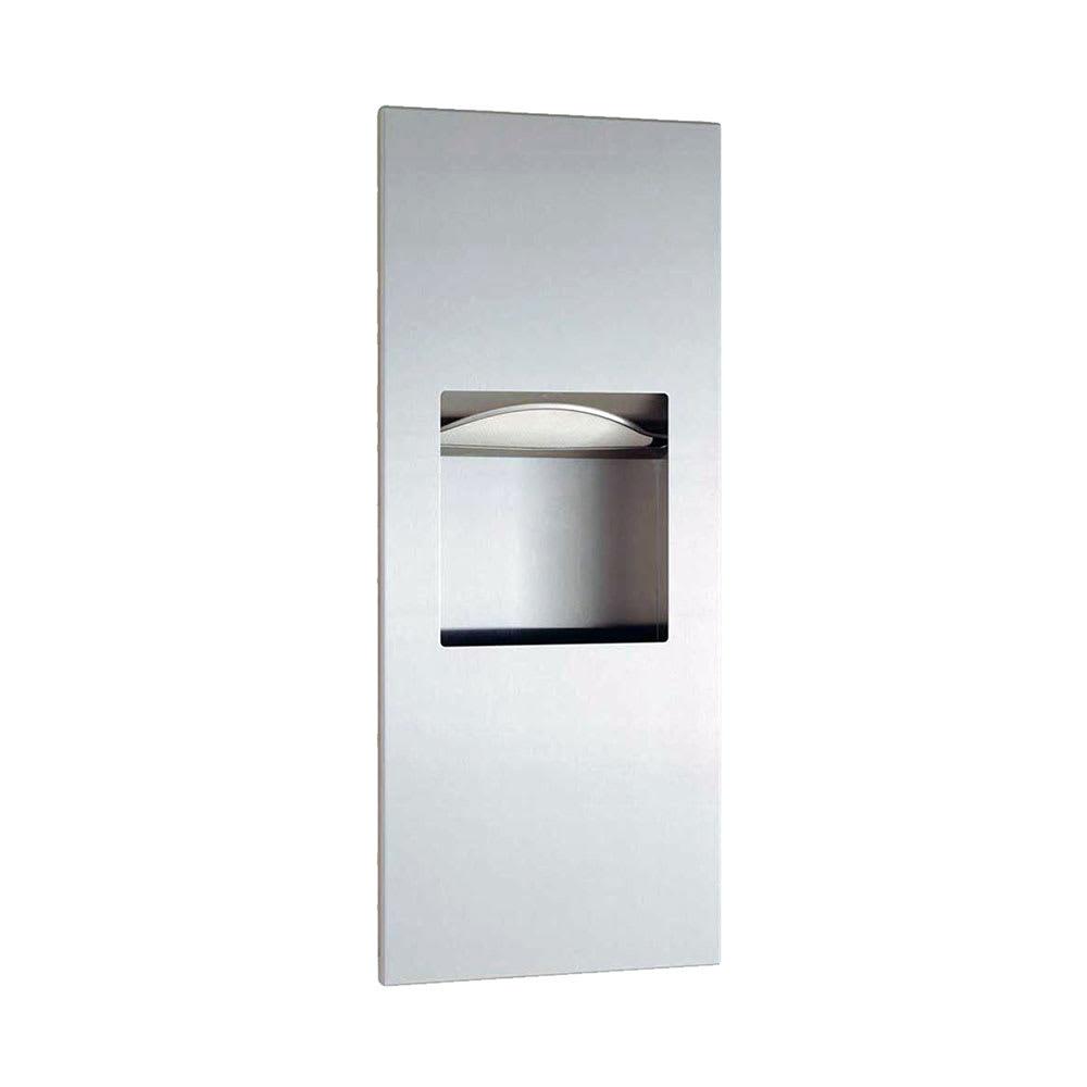 Bobrick b36903 1 6 gallon recessed bathroom trash can w paper towel dispenser for Paper towel dispensers for bathrooms