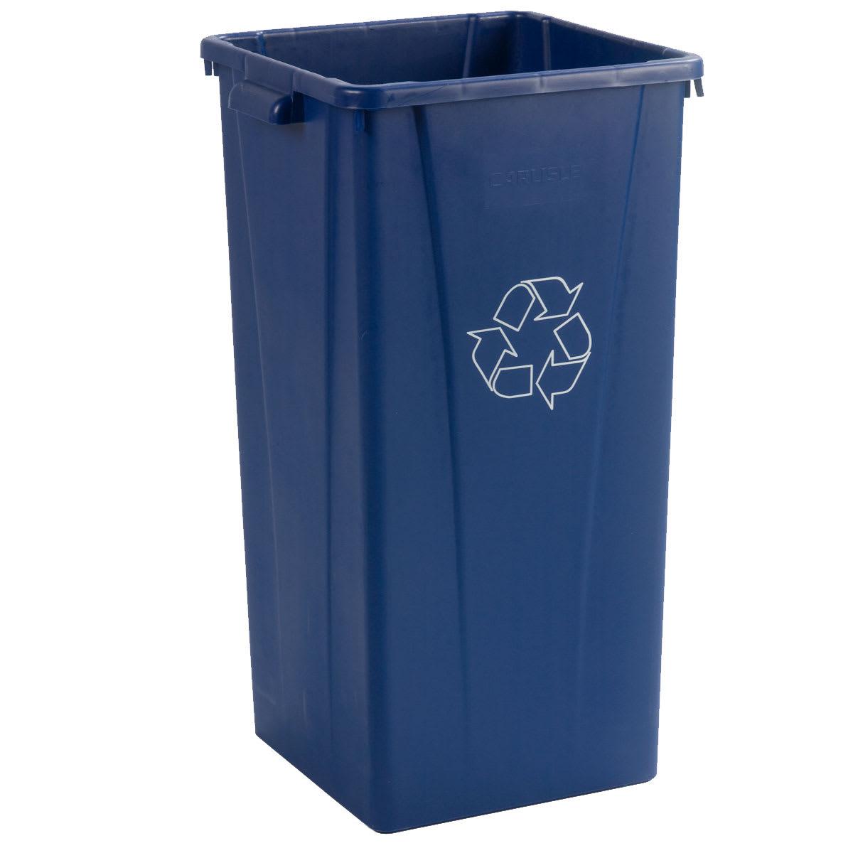 Carlisle CFS343523REC14 Centurian Tall Square Recycling Container, 23 Gallon, Polyethylene (LLDPE), Blue, 4 Per Case
