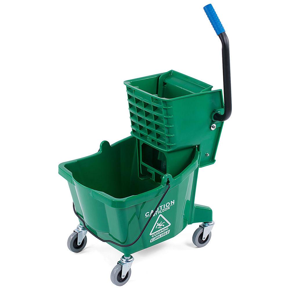 Carlisle CFS3690809 Bucket with Side Press Wringer, 26 Quart, Polyethylene, Green