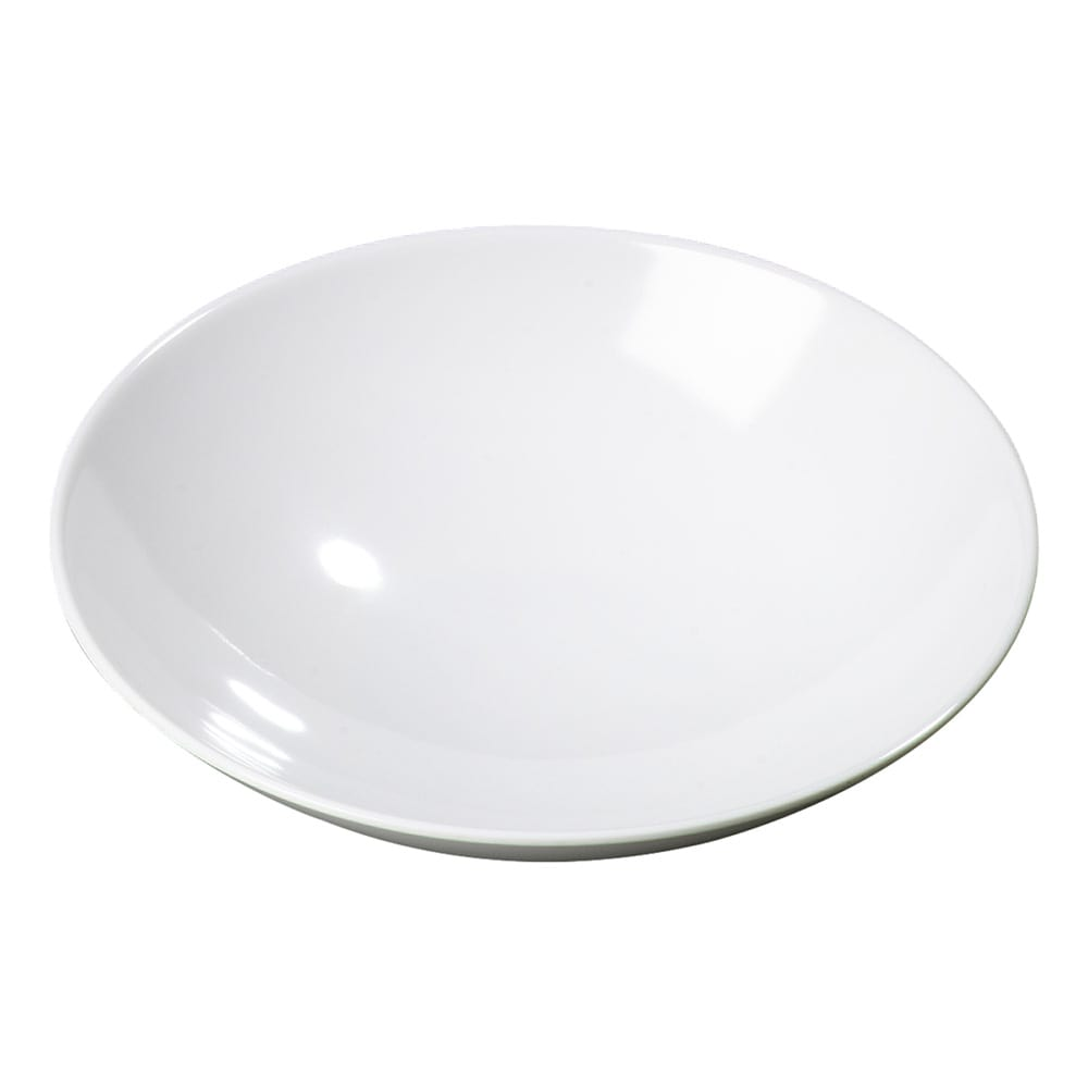 "Carlisle CFSARR24002 Round Open Vegetable Bowl, 1.4 Quart, 2-1/2"" High, 9"" Diameter, Melamine, White, 12 Per Case"