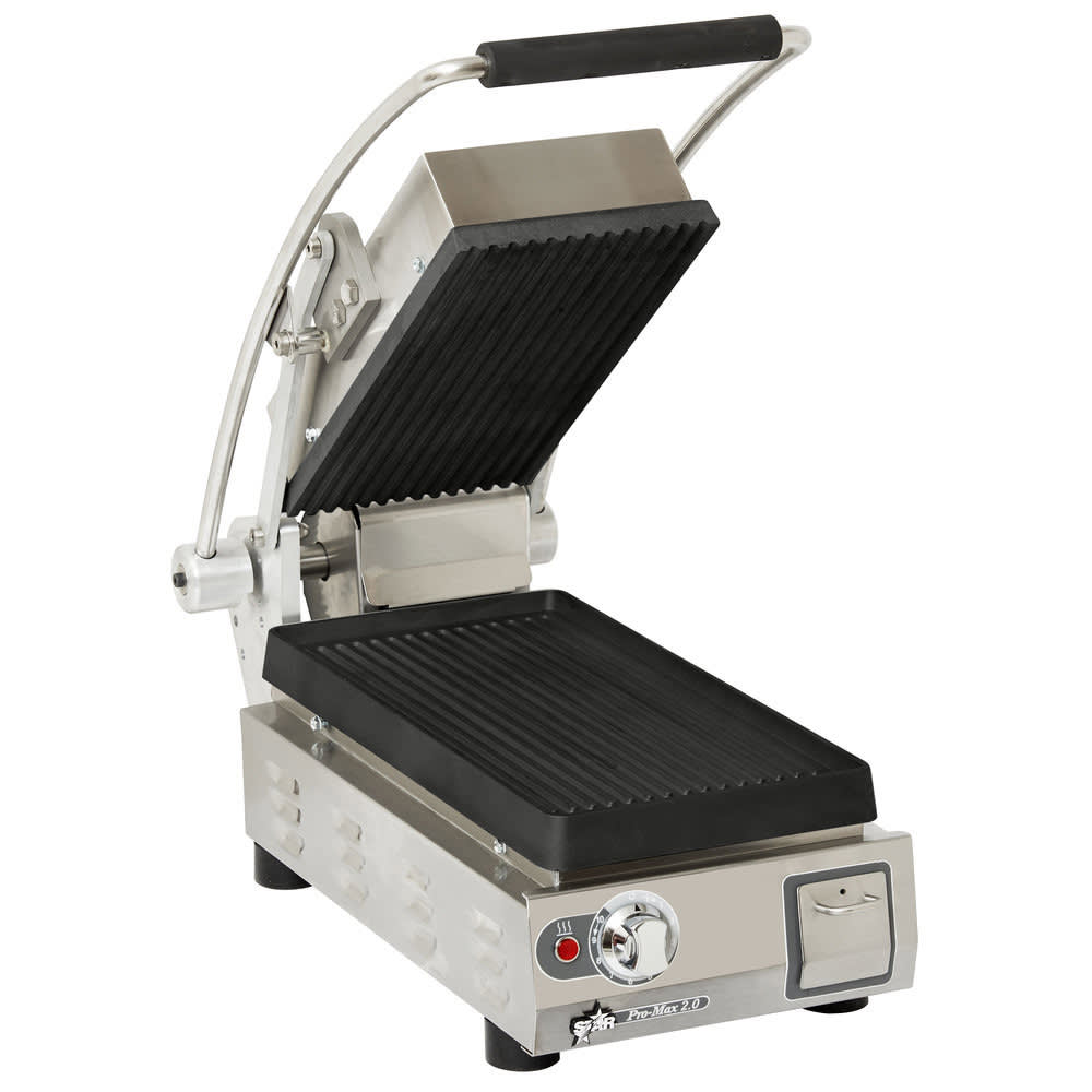 Star PGT7I Commercial Panini Press w/ Cast Iron Grooved P...