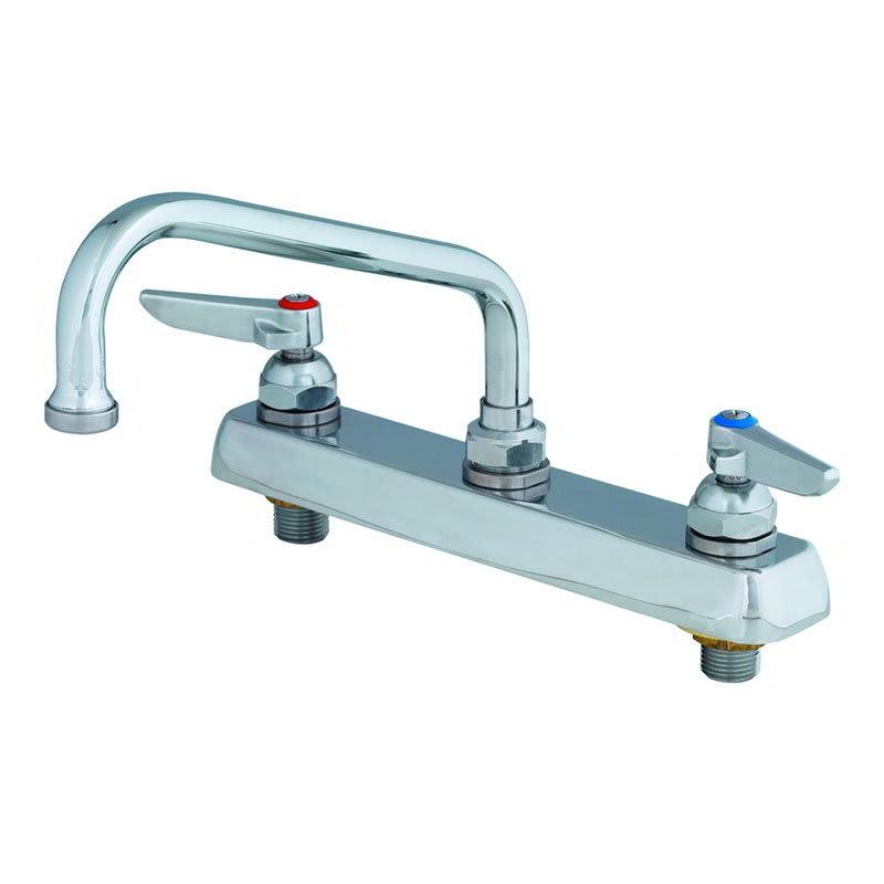 "T&S Workboard Faucet, Deck Mount, 8"" Centers, 8"" Swing Nozzle, Lever Handles"