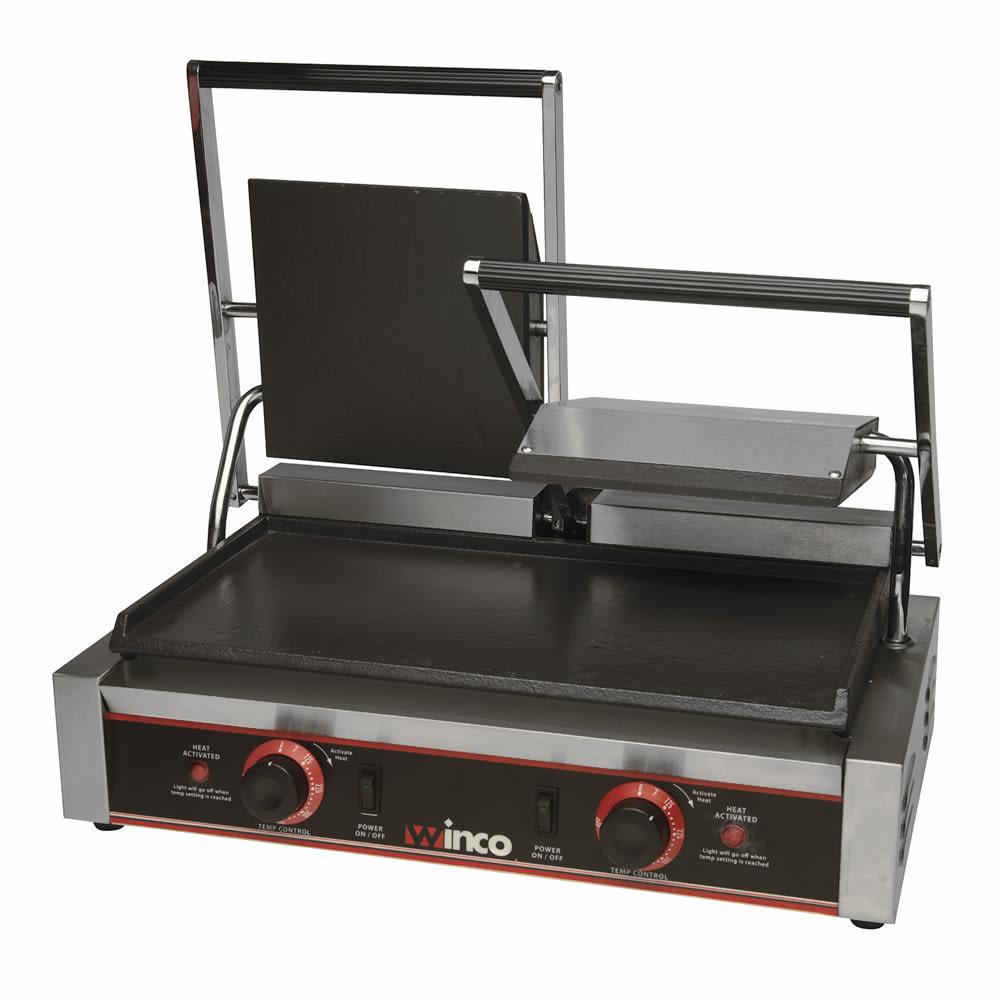 Winco ESG-2 Double Commercial Panini Press w/ Cast Iron S...