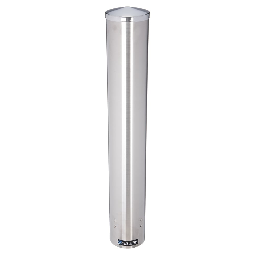 San Jamar Cup and Lid Dispensers Stainless Steel Pull Type Stand or Wall