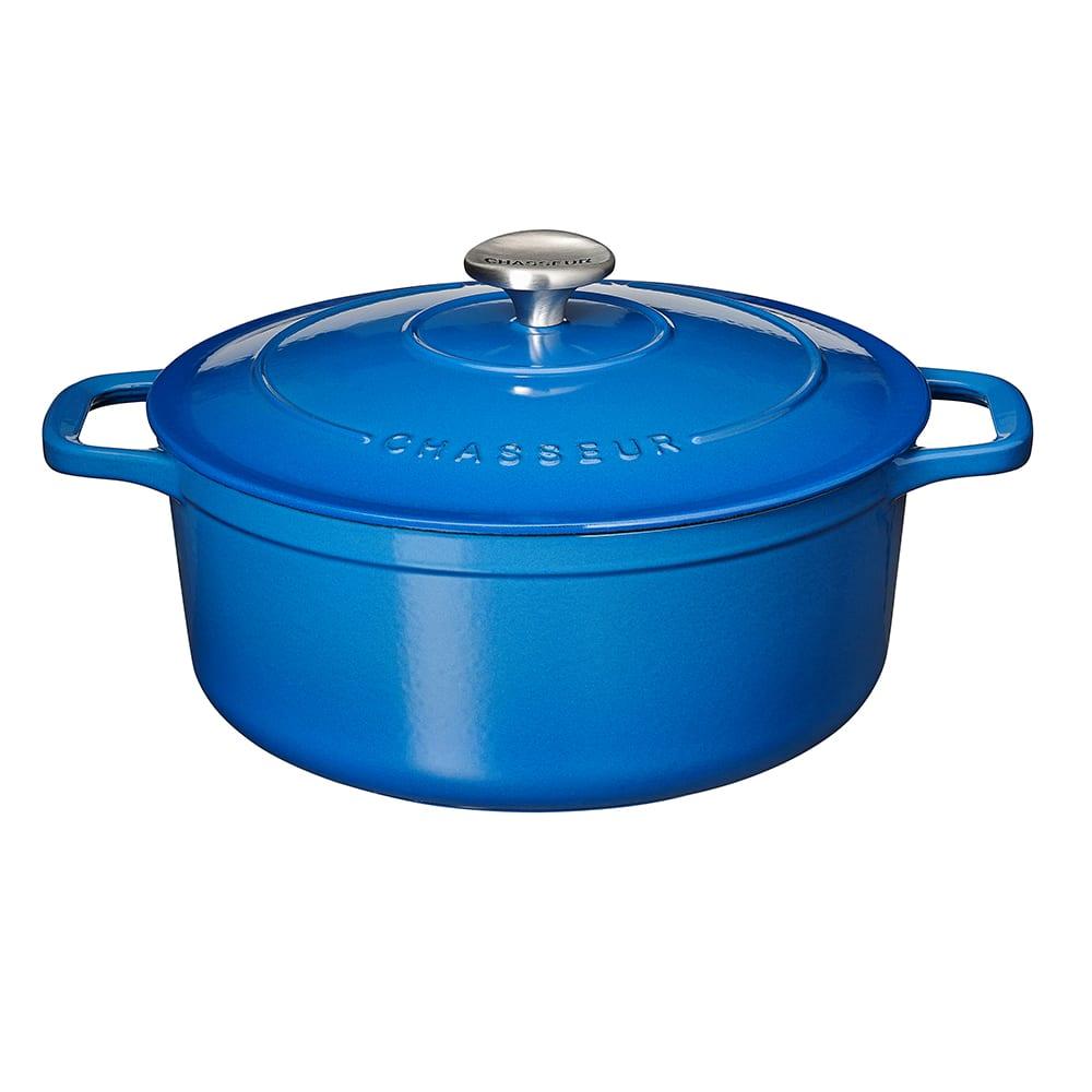 World Cuisine Chasseur Enamel Cast-Iron Round Dutch Oven, 2-1/2Qt. Blue
