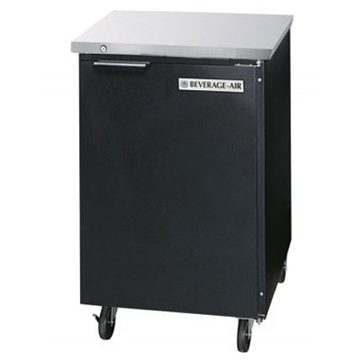 """Beverage-Air BB24F-1-S 24"""" One Solid Door Food Rated Back Bar Refrigerator 7.8 cu. ft. Capacity Stainless Steel Exterior and Rear Mounted Compressor"""