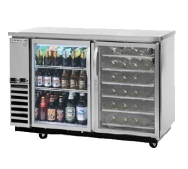Beverage-Air DZ58G-1-S-PWD 59 Swinging Glass Door Bar Refrigerator, 2 Section, Wine Drawers, Stainless, 115v