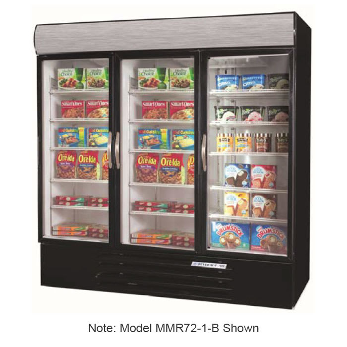 Beverage Air Mmf725wled White Marketmax 3 Glass Door Merchandising Freezer With Led Lighting And Swing