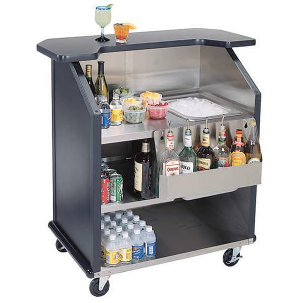 Lakeside 884 BLK 43 Portable Bar w/ 40 lb Ice Bin & 7 Bot...