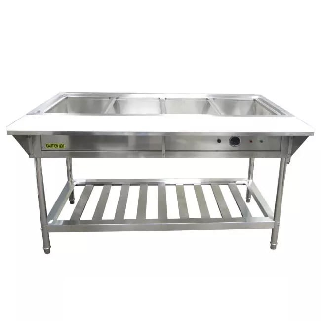 Adcraft AMLEST240 4-Bay Water Bath Steam Table, For Full Size Food Pans, 208-240V, Stainless Steel