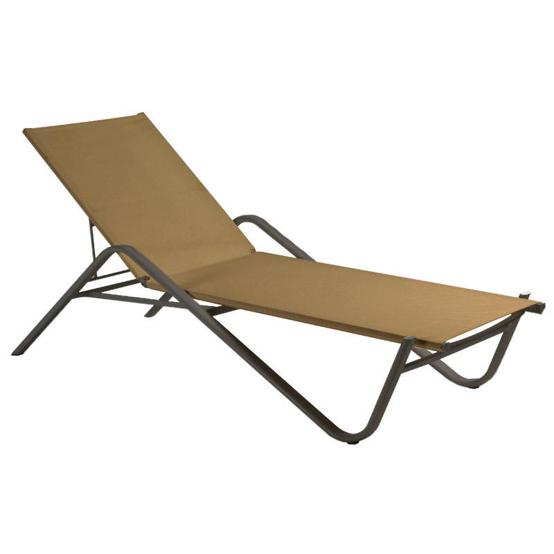 EMU 195 Adjustable Chaise w/ Fabric Back & Seat, Tubular ...