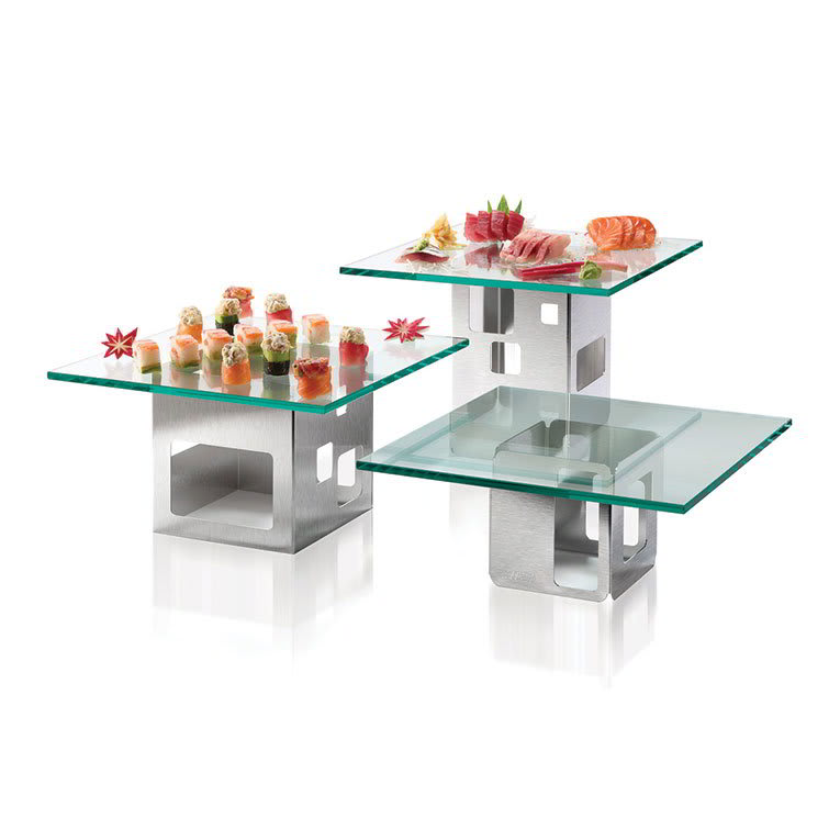 Rosseto SK002 6 Piece Square Riser Set - Glass/Stainless