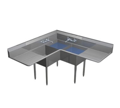 Duke CS1E2F24 64 3 Compartment Sink w/ 16L x 21W Bowl, 12...