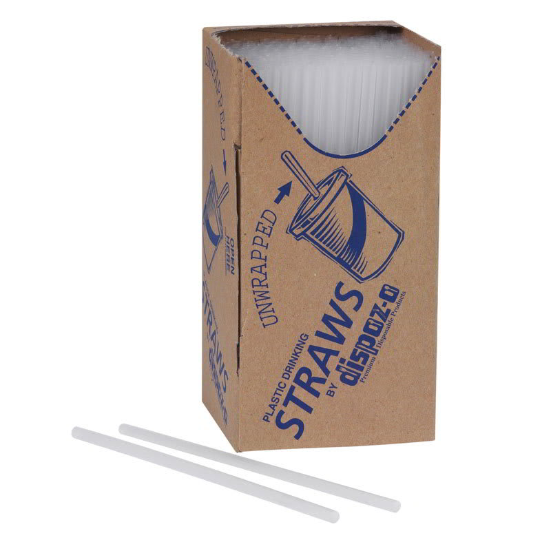 Gold Medal 1082 Unwrapped Plastic Disposable Sno-Sipper Straws, White