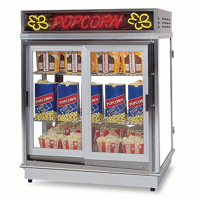 Gold Medal 2004SLN Astro Pop Staging Cabinet w/ Sliding Door & 3-Shelf Warmers, 120v