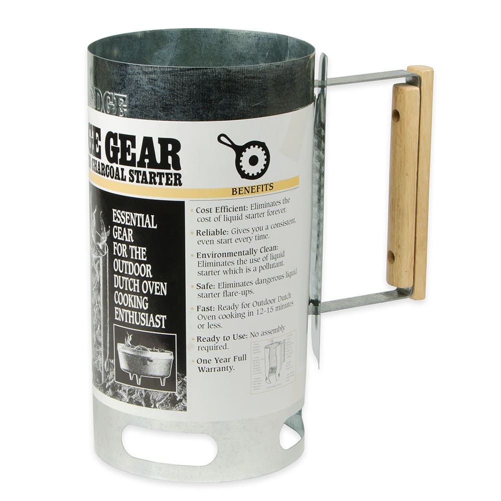 Lodge A5-1 6.5 Round Camp Charcoal Chimney Starter w/ Woo...
