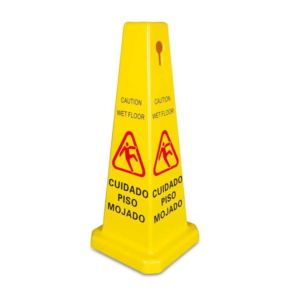 Update wfc 27 27 cone shaped wet floor sign bilingual for Floor banner