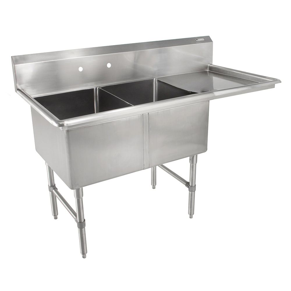 John Boos 2B16204-1D18R 54 2-Compartment Sink w/ 16L x 20...