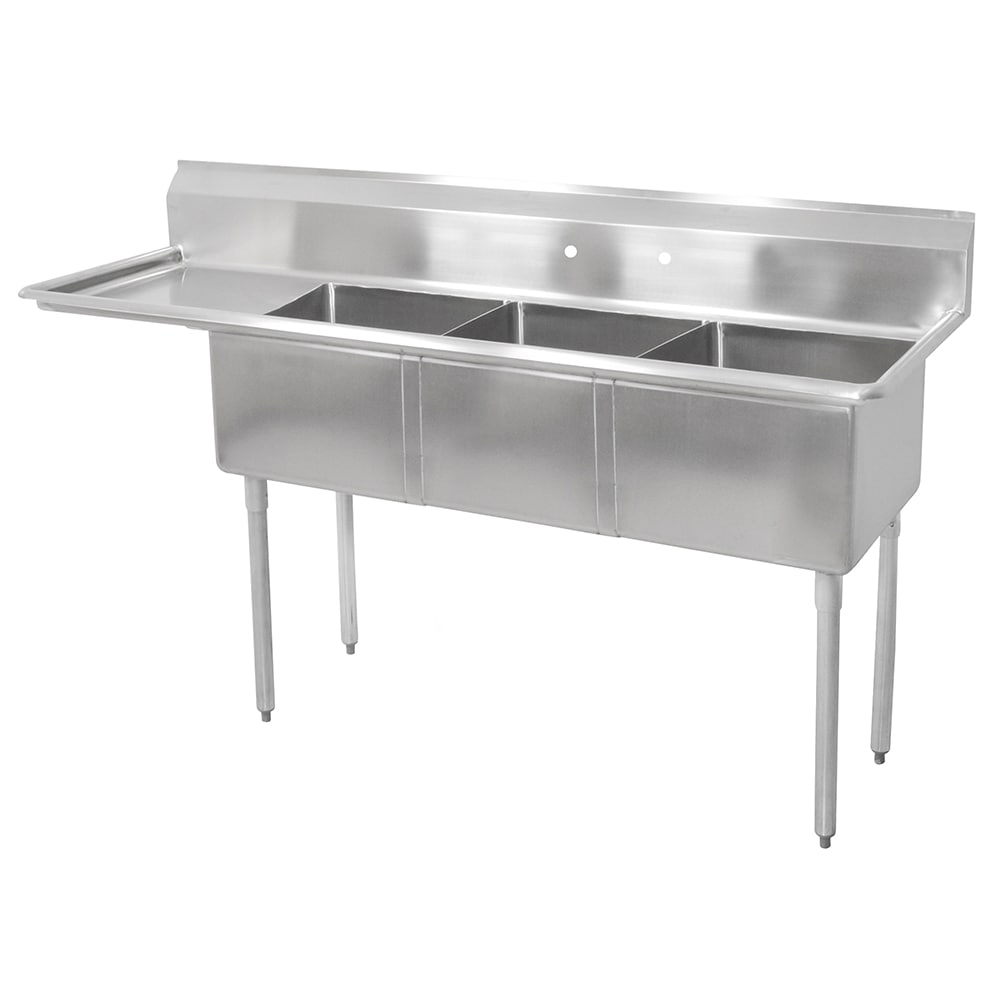 John Boos E3S8-1014-10L15 47.5 3-Compartment Sink w/ 10L ...