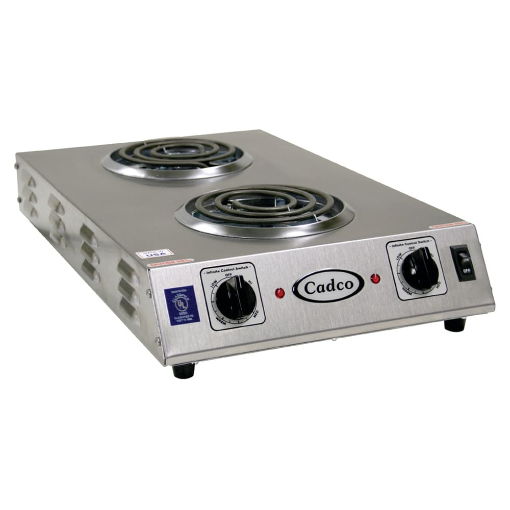 Cadco CDR-1TFB 13.5 Electric Hotplate w/ (2) Burners & In...