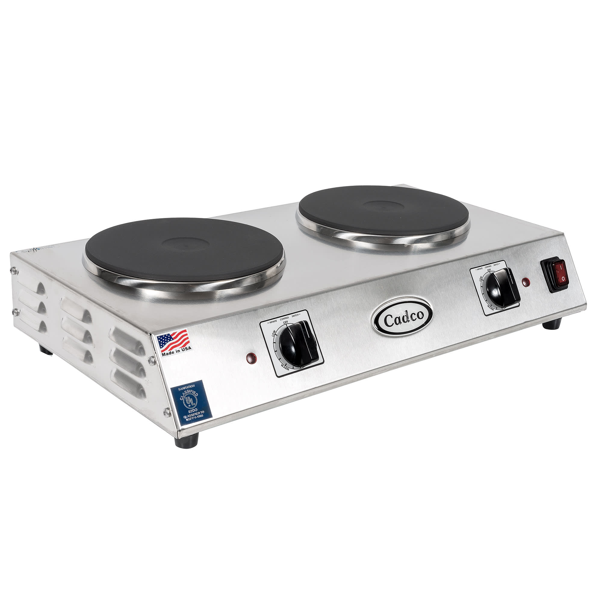 Cadco CDR-2C 21.25 Electric Hot Plate w/ (2) Burners & In...