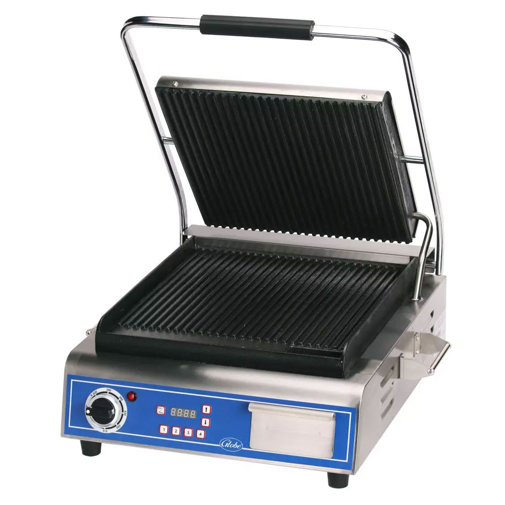 Globe GPG14D Commercial Panini Press w/ Cast Iron Grooved Plates, 120v
