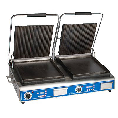 Globe GPGSDUE14D Double Commercial Panini Press w/ Cast Iron Grooved Top/Smooth Bottom Plates, 208 240v/1ph