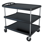 Metro MY2636-35BL 3 Level Polymer Utility Cart w/ 500 lb Capacity, Marine Ledges