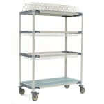 "Metro PR48VX3 4-Tier Mobile Drying Rack w/ 2-Drop-Ins, 26"" x 50"" x 68"""