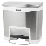 "Rubbermaid 1901984 4-gal Rectangle Metal Step Trash Can, 15.58""L x 11.91""W x 15.73""H, White"