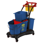Rubbermaid FG777700BLUE 35-qt WaveBrake Mopping Trolley - Down Press, Blue