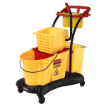 Rubbermaid FG777700YEL 35-qt WaveBrake Mopping Trolley - Down Press, Yellow
