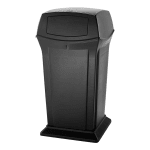 Rubbermaid FG917500BLA 65-gal Outdoor Decorative Trash Can - Plastic, Black