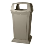 Rubbermaid FG917600BEIG 65-gal Outdoor Decorative Trash Can - Plastic, Beige