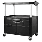 Rubbermaid FG9T2900BLA 3-Level Media Cart w/ 150-lb Capacity & 10-ft Cord