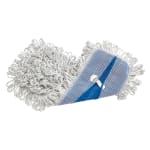 Rubbermaid FGE05200WH00 Finish Mop - Looped End, Rayon/Synthetic Blend, White/Blue