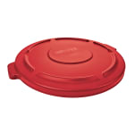 Rubbermaid FG260900RED Round Flat Top Trash Can Lid - Plastic, Red