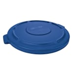 Rubbermaid FG263100BLUE Round Flat Top Trash Can Lid - Plastic, Blue