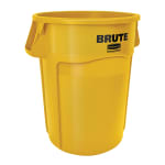 Rubbermaid FG265500YEL 55-gallon Brute Trash Can - Plastic, Round, Food Rated