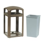 "Rubbermaid FG397500DWOOD 50-gal Landmark Series Container - 26x26x46-1/2"" Dome Top Frame, Drift Wood"