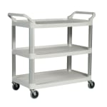 Rubbermaid FG409100OWHT 3 Level Polymer Utility Cart w/ 300 lb Capacity, Raised Ledges