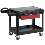 Rubbermaid FG453588 BLA 2-Level Polymer Utility Cart w/ 500-lb Capacity, Flat Ledges