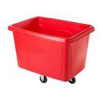 Rubbermaid FG461400RED Cube Truck - 14 cu ft, 400-lb Capacity, Red