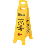Rubbermaid FG611478 YEL Multi-Lingual Floor Closed Sign - 4 Sided, Yellow