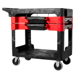 Rubbermaid FG618000 BLA 2-Level Polymer Utility Cart w/ 330-lb Capacity, Flat Ledges